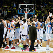 Fenerbahce Ulker's players celebrate victory during their Turkish Airlines Euroleague Basketball Top 16 Group G Game 2 match Fenerbahce Ulker between EA7 Emporio Armani at Fenerbahce Ulker Sports Arena in Istanbul, Turkey, Wednesday, January 25, 2012. Photo by TURKPIX