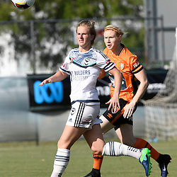 BRISBANE, AUSTRALIA - JANUARY 1: Natasha Dowie of the Victory and Clare Polkinghorne of the Roar compete for the ball during the round 10 Westfield W-League match between the Brisbane Roar and Melbourne Victory at AJ Kelly Park on January 1, 2017 in Brisbane, Australia. (Photo by Patrick Kearney/Brisbane Roar)