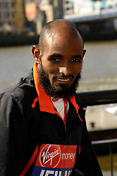 Ibrahim Jeilan attends the celebrity runners London Marathon photocall at Tower Bridge, London, UK.<br /> Wednesday, 9th April 2014. Picture by Chris Joseph / i-Images
