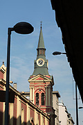 Low angle view of clock tower on church, Alameda, Santiago, Chile