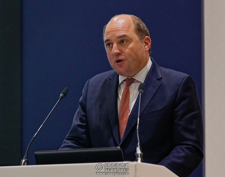 London, United Kingdom - 11 September 2019<br /> The Rt Hon Ben Wallace MP. Secretary of State for Defence for the UK Government presents keynote address speech to audience at DSEI 2019 security, defence and arms fair at ExCeL London exhibition centre.<br /> (photo by: EQUINOXFEATURES.COM)<br /> Picture Data:<br /> Photographer: Equinox Features<br /> Copyright: ©2019 Equinox Licensing Ltd. +443700 780000<br /> Contact: Equinox Features<br /> Date Taken: 20190911<br /> Time Taken: 12401900<br /> www.newspics.com