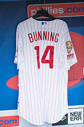 May 27, 2017: A jersey of former Phillies' Jim Bunning hangs in the dugout to honor his passing during the MLB game between the Cincinnati Reds and Philadelphia Phillies at Citizens Bank Park in Philadelphia, Pennsylvania. Christopher Szagola/CSM(Credit Image: © Chris Szagola/CSM via ZUMA Wire)