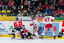 13.01.2019, Ice Rink, Znojmo, CZE, EBEL, HC Orli Znojmo vs HCB Suedtirol Alperia, 38. Runde, im Bild v.l. Allan McPherson (HC Orli Znojmo) Marek Kalus (HC Orli Znojmo) Daniel Catenacci (HCB Sudtirol Alperia) Andrew Crescenzi (HCB Sudtirol Alperia) // during the Erste Bank Eishockey League 38th round match between HC Orli Znojmo and HCB Suedtirol Alperia at the Ice Rink in Znojmo, Czechia on 2019/01/13. EXPA Pictures © 2019, PhotoCredit: EXPA/ Rostislav Pfeffer