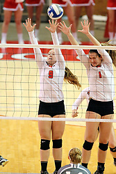 06 November 2015:  Jacqueline Twing(9) and Ali Line(1) attempt a block during an NCAA women's volleyball match between the Bradley Braves and the Illinois State Redbirds at Redbird Arena in Normal IL (Photo by Alan Look)