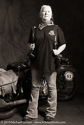 Writer, photographer and CCC staffer Felicia Morgan during the Cross Country Chase motorcycle endurance run from Sault Sainte Marie, MI to Key West, FL (for vintage bikes from 1930-1948). Photographed at the end of the Stage 6 ride from Chattanooga, TN to Macon, GA USA. Wednesday, September 11, 2019. Photography ©2019 Michael Lichter.