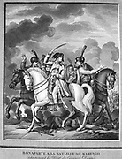 Napoleon at the Battle of Marengo, 14 June 1800, being told of the death of General Desaix. French forces under Napoleon defeated Austrians.  Engraving