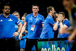Damir Grgic, head coach of Slovenia, Predrag Radovic, assistant coach, Slavko Duscak, assistant coach of Slovenia, Jure Krajnc, assistant coach of Slovenia during basketball match between Women National teams of Belgium and Slovenia in the Qualification for the Quarter-Finals of Women's Eurobasket 2019, on July 2, 2019 in Belgrade Arena, Belgrade, Serbia. Photo by Vid Ponikvar / Sportida