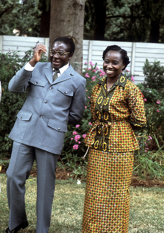 Rhodesian politician Robert Mugabe and wife Sally seen in Salisbury, Rhodesia just before Independance in 1980. Photographed by Terry Fincher