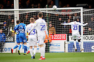 Coventry City forward Amadou Bakayoko heads this chance against the bar during the EFL Sky Bet League 1 match between Peterborough United and Coventry City at London Road, Peterborough, England on 16 March 2019.