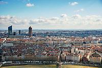Lyon. Vue generale sur la Part Dieu depuis Fourviere