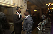 Olympic gold medalist ? Audley Harrison and Chris Eubank. The City Fashion Show and dinner in aid of the NSPCC. Harrod's. 10 October 2000. © Copyright Photograph by Dafydd Jones 66 Stockwell Park Rd. London SW9 0DA Tel 020 7733 0108 www.dafjones.com