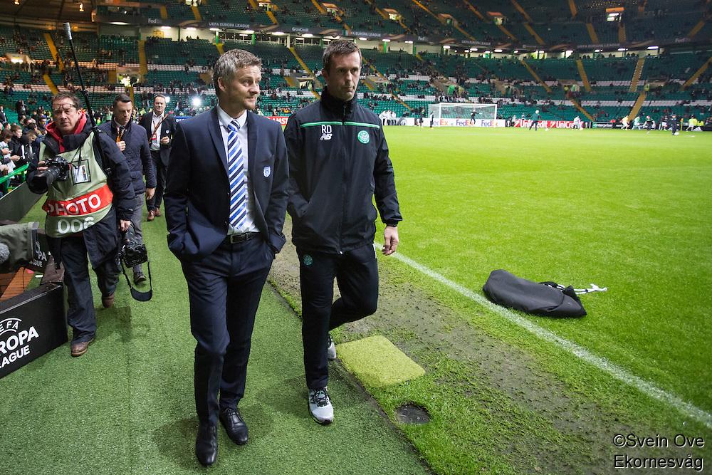 UEFA Europa League 2015: Celtic - Molde. Moldes manager Ole Gunnar Solskjær (t.v.) og Celtics trener Ronny Deila før Europa League kampen mellom Celtic og Molde på Celtic Park.