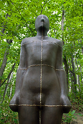 Sculpture made from iron named Shaft II by Antony Gormley at Sapporo Art Park in Hokkaido Japan 2007