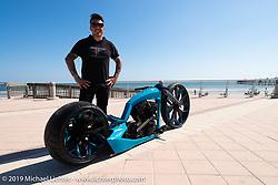 Brazilian custom builder Tarso Marques' custom 2005 Harley-Davidson Twin Cam on the Daytona Beach, FL boardwalk during Daytona Bike Week. Sunday March 18, 2018. Photography ©2018 Michael Lichter.