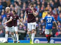Hearts' Steven Maclean dejection during the Ladbrokes Scottish Premiership match at Ibrox Stadium, Glasgow.