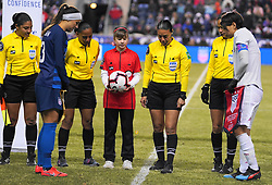 February 28, 2019 - Chester, United States - Saki Kumagai  of Japan and Alex Morgan  of The United States at the coin toss.during the She Believes Cup football match between The United States and Japan at Talen Energy Stadium on February 27, 2019 in Chester, Pennsylvania, United States. (Credit Image: © Action Foto Sport/NurPhoto via ZUMA Press)