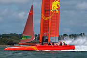 SailGP Team China helmed by Phil Robertson practising on the Solent. Event 4 Season 1 SailGP event in Cowes, Isle of Wight, England, United Kingdom. 6 August 2019: Photo Chris Cameron for SailGP. Handout image supplied by SailGP