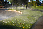 Sprinkler heads water a strip of green grass (and equal area of pavement) on the University of Colorado campus in Boulder, Colorado.