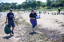 15JUL21 Matt helping out with Catherine Gemmell. The Marine Conservation Society launching it's big beach clean up volunteer call at Cramond beach this morning.