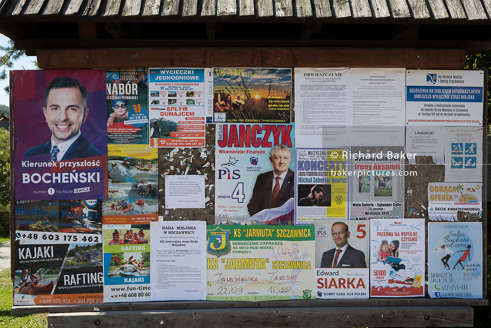 A detail of events, entertainment, attractions and election posters for the local Polish community on a noticeboard, on 21st September 2019, in Jaworki, near Szczawnica, Malopolska, Poland.
