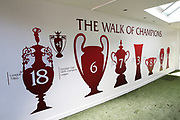Updated Walk of Champions for the fans as they celebrate outside the stadium and through the city before and during the Premier League match between Liverpool and Aston Villa at Anfield, Liverpool, England on 5 July 2020.