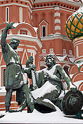 Moscow, Russia, 20/02/2005..St Basil's Cathedral in a snowbound Red Square.