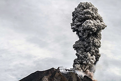 May 20, 2017 - Karo, North Sumatra, Indonesia - A burst of thick volcanic ash volcano Sinabung volcano into the air, in Karo on May 19, 2017, North Sumatra Province, Indonesia. People are urged to remain vigilant and adhere to government recommendations. It is unpredictable how long Mount Sinabung will stop erupting. Volcanic parameters and mountain seismicity remain high so that the potential for further eruptions will continue. (Credit Image: © Ivan Damanik via ZUMA Wire)