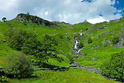 Lakeland countryside and waterfall ghyll at Easedale in the Lake District National Park, Cumbria, UK