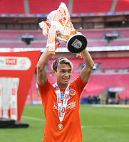 Blackpool's Kenny Dougall with the trophy<br /> <br /> Photographer Rob Newell/CameraSport<br /> <br /> The EFL Sky Bet League One Play-Off Final - Blackpool v Lincoln City - Sunday 30th May 2021 - Wembley Stadium - London<br /> <br /> World Copyright © 2021 CameraSport. All rights reserved. 43 Linden Ave. Countesthorpe. Leicester. England. LE8 5PG - Tel: +44 (0) 116 277 4147 - admin@camerasport.com - www.camerasport.com