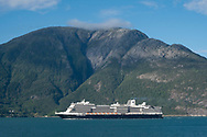 A large cruise ship steaming along Hardanger Fjord, Vestlandet, Norway