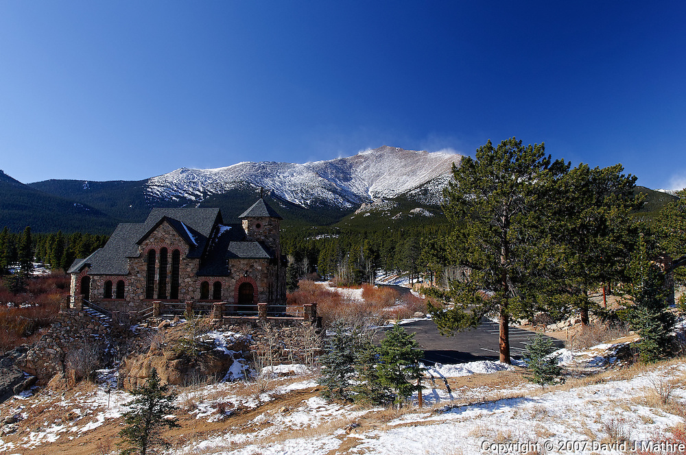 Saint Catherine Chapel and Mt. Meeker, Rocky Mountain National Park.