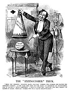 "The ""Extinguisher"" Trick. ""Here you perceive 'fugitive slave circular' number two—number one having disappeared already! I now take this cone into my hand;—it resembles an extinguisher, and is called a 'royal commission.' I place it over the 'circular,' and—hey, presto!—on raising it again, 'circular' number two will have disappeared!"""