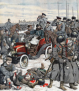 Russo-Japanese War 1904-1905: General Alexei Nicholaevitch Kouropatkin, commander of Russian forces in Manchuria, directing the campaign from his car. From 'Le Petit Journal', Paris, 11 December 1904.