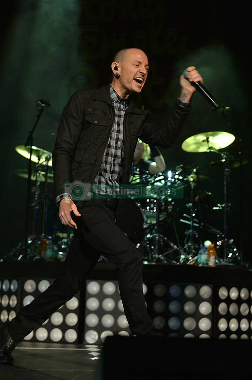 Chester Bennington performs on stage with Stone Temple Pilots at BB&T Center on September 17, 2013 in Sunrise, Florida. 17 Sep 2013 Pictured: Chester Bennington performs on stage with Stone Temple Pilots at BB&T Center on September 17, 2013 in Sunrise, Florida. Photo credit: TBA / MEGA TheMegaAgency.com +1 888 505 6342