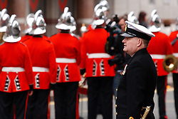 © under license to London News Pictures. 14/11/2010.  Royal Navy Officer stands in front of troops on Remembrance Sunday in Birmingham before they march to Centenary Square. Photo credit should read Jason Patel/London News Pictures