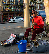 Street musician on Decatur Street in the French Quarter of New Orleans, Louisiana, USA