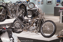 Christian Newman's custom custom 1940 Harley-Davidson stainless Knucklehead chopper in the Old Iron - Young Blood exhibition in the Motorcycles as Art gallery at the Buffalo Chip during the annual Sturgis Black Hills Motorcycle Rally. Sturgis, SD, USA. Wednesday August 9, 2017. Photography ©2017 Michael Lichter.