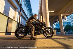 Tatsuya Fujii of Duas Caras Cycles, Nagoya, Japan with his entry in the Harley-Davidson Street 750 Build Off at Mooneyes Yokohama Hot Rod & Custom Show. Yokohama, Japan. December 5, 2015.  Photography ©2015 Michael Lichter.