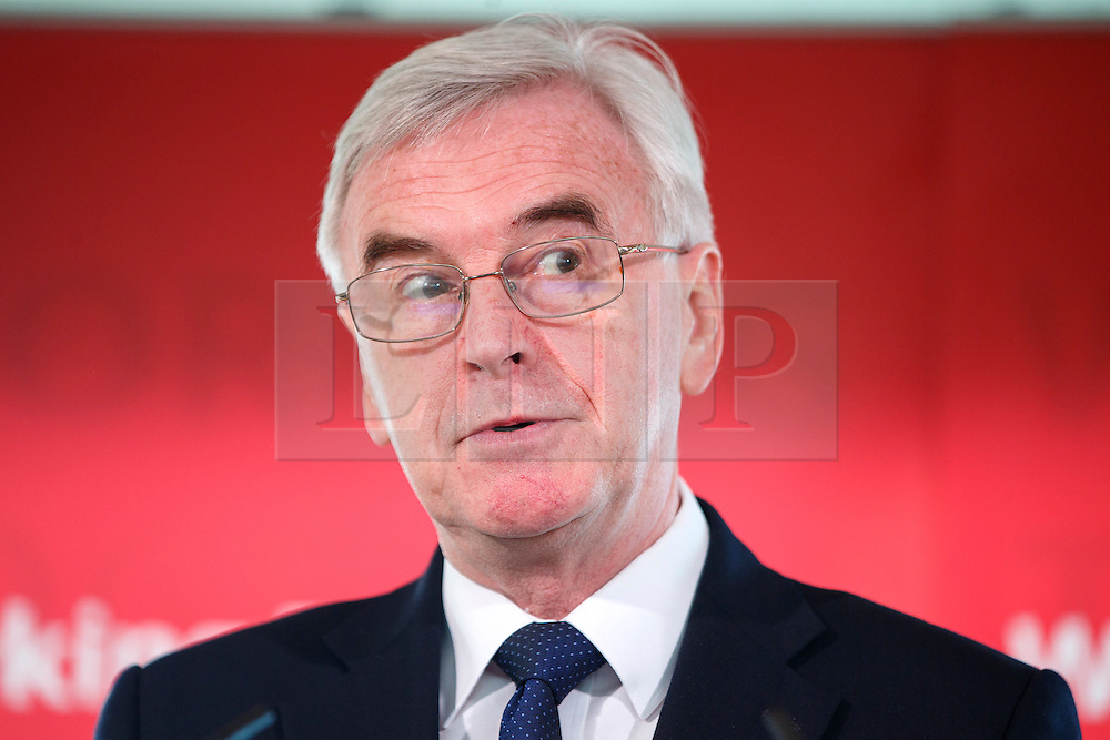 © Licensed to London News Pictures. 02/03/2017. London, UK. Shadow Chancellor JOHN MCDONNELL delivers a pre-Budget speech at Royal Festival Hall on 2 March 2017, explaining Labour's plans for the future of the UK's economy ahead of the March 8 Budget. Photo credit: Tolga Akmen/LNP