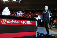 Barry Hawkins (Eng) walks past the trophy as he is announced to the crowd before the match. . Barry Hawkins (Eng) v Mark Selby (Eng) , Quarter-Final match at the Dafabet Masters Snooker 2017, at Alexandra Palace in London on Friday 20th January 2017.<br /> pic by John Patrick Fletcher, Andrew Orchard sports photography.