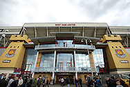a General view outside the Boleyn Ground before k/o. The Emirates FA cup, 6th round replay match, West Ham Utd v Manchester Utd at the Boleyn Ground, Upton Park  in London on Wednesday 13th April 2016.<br /> pic by John Patrick Fletcher, Andrew Orchard sports photography.