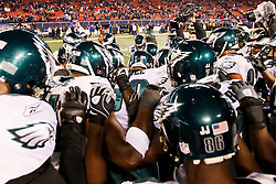 The Philadelphia Eagles in a huddle before the NFL game between the Philadelphia Eagles and the New York Giants on December 13th 2009. The Eagles won 45-38 at Giants Stadium in East Rutherford, New Jersey. (Photo By Brian Garfinkel)