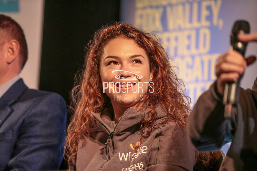 two-time junior world champion Lucy Garner (Wiggle High5) during the Tour de Yorkshire Press Conference at the National Railway Museum, York, United Kingdom on 27 April 2017. Photo by Mark P Doherty.