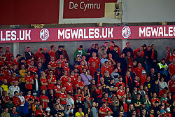 CARDIFF, WALES - Friday, September 6, 2019: MG sponsorship during the UEFA Euro 2020 Qualifying Group E match between Wales and Azerbaijan at the Cardiff City Stadium. (Pic by Paul Greenwood/Propaganda)