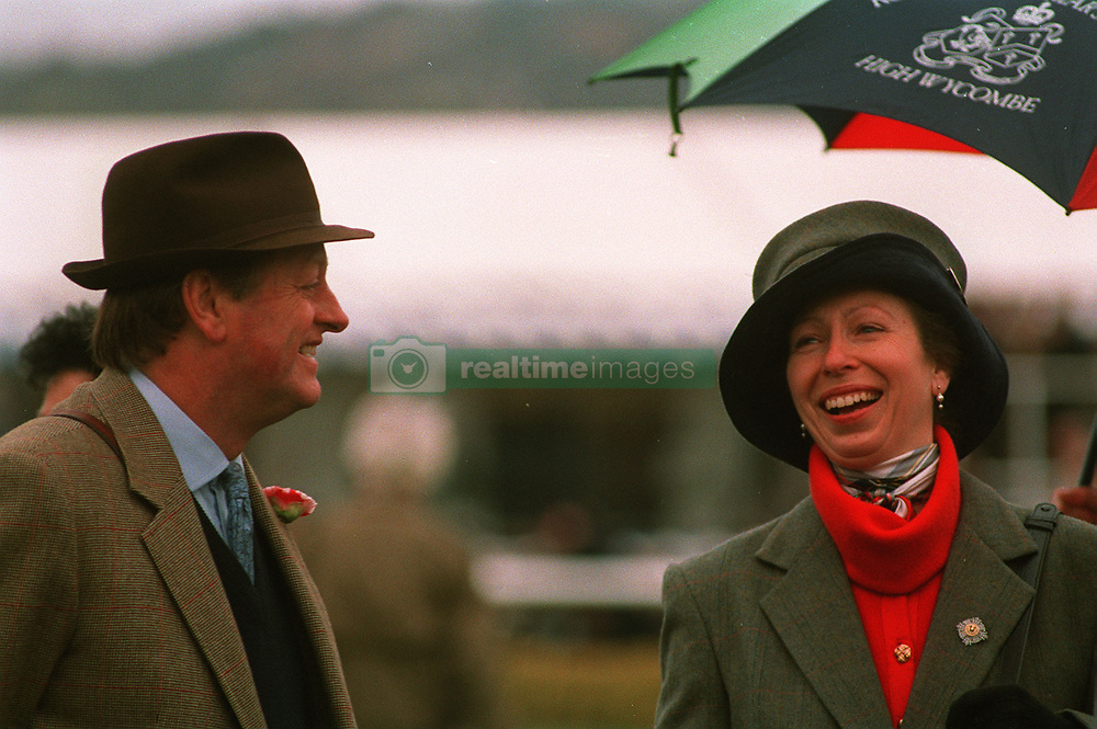 PA NEWS PHOTO 16/3/95  THE PRINCESS ROYAL SHARES A JOKE WITH BRIGADIER ANDREW PARKER-BOWLES AT THE TOTE GOLD CUP RACE MEETING AT CHELTENHAM