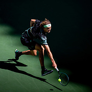 2019 US Open Tennis Tournament- Day Four.  Alexander Zverev of Germany in action against Frances Tiafoe of the United States in the Men's Singles Round Two match on Arthur Ashe Stadium at the 2019 US Open Tennis Tournament at the USTA Billie Jean King National Tennis Center on August 29th, 2019 in Flushing, Queens, New York City.  (Photo by Tim Clayton/Corbis via Getty Images)
