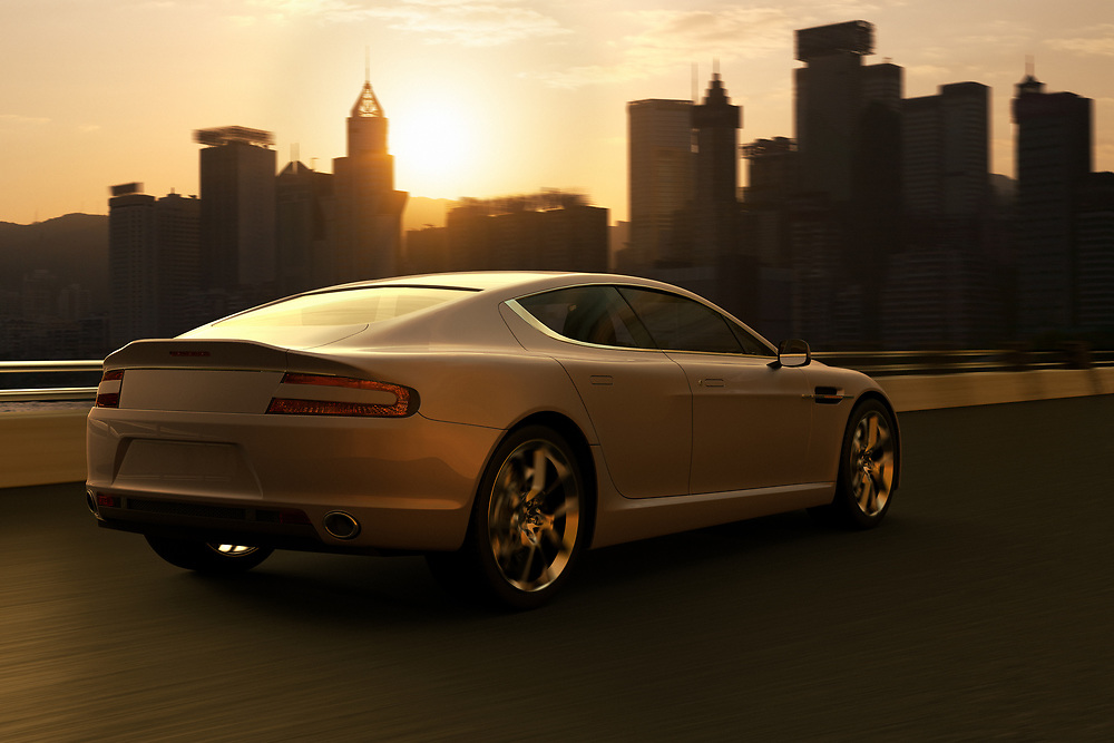 3D rendering of a luxury car at motion in front of the silhouette skyline of Hong Kong