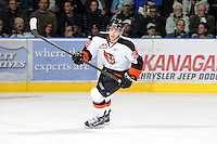 KELOWNA, CANADA, OCTOBER 11: Rhyse Dieno #28 of the Medicine Hat Tigers skates on the ice as the Medicine Hat Tigers visited the Kelowna Rockets on October 11, 2011 at Prospera Place in Kelowna, British Columbia, Canada (Photo by Marissa Baecker/shootthebreeze.ca) *** Local Caption ***Rhyse Dieno;