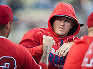 The Angels' Mike Trout, who was out of the lineup for the second night in a row due to illness, gives starting pitcher Hector Santiago a fist bump before their Freeway Series game Friday night at Dodger Stadium.<br /> <br /> <br /> ///ADDITIONAL INFO:   <br /> <br /> freeway.0402.kjs  ---  Photo by KEVIN SULLIVAN / Orange County Register  --  4/1/16<br /> <br /> The Los Angeles Angels take on the Los Angeles Dodgers at Dodger Stadium during the Freeway Series Friday.<br /> <br /> <br />  4/1/16