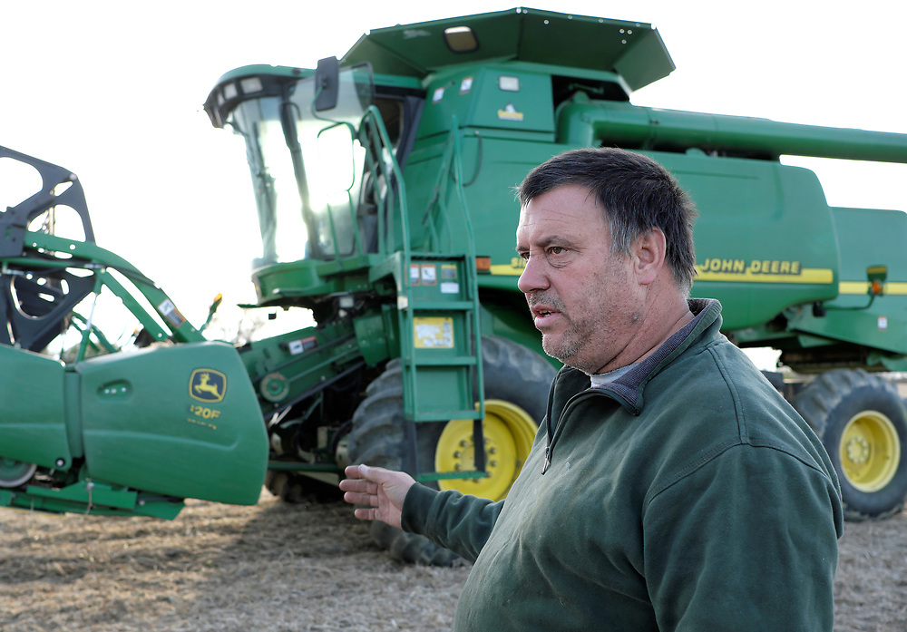 Kevin Brewer talks after harvesting soybeans Oct. 25, 2018, on his Brewer family farm in Bangor, Pennsylvania. Recent retaliatory tariffs implemented by China on grain exports, including soybeans which are the top agricultural export in the United States, are hurting farmers in Pennsylvania. (Photo by Matt Smith)